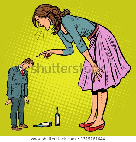 wife scolding drunk husband Stock photo © studiostoks