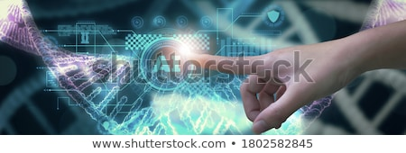 Technológia szalag fejléc pici emberek tudósok Stock fotó © RAStudio