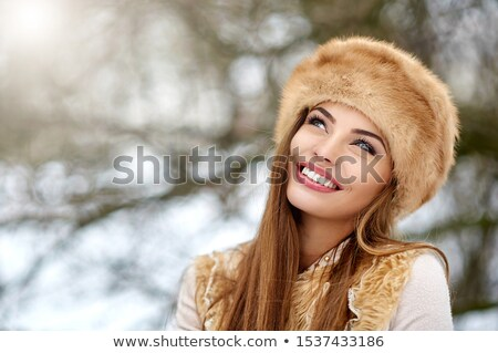 Stockfoto: Close Up Of Happy Woman In Winter Fur Hat Outdoors