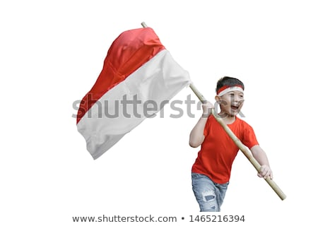 An Indonesian Boy with Flag Stock photo © colematt