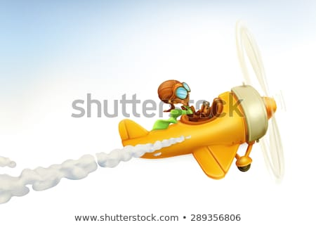 Old design of airplane in yellow color Stock photo © colematt