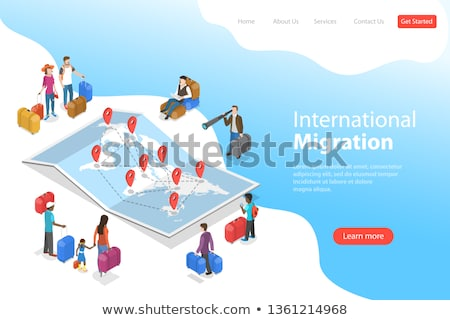 Isometric flat vector concept of international migration, immigration. Stock photo © TarikVision