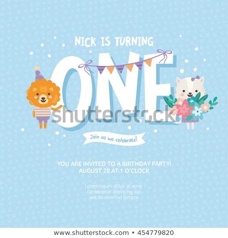 ストックフォト: Baby Shower, Newborn Kids Toddlers with Flags