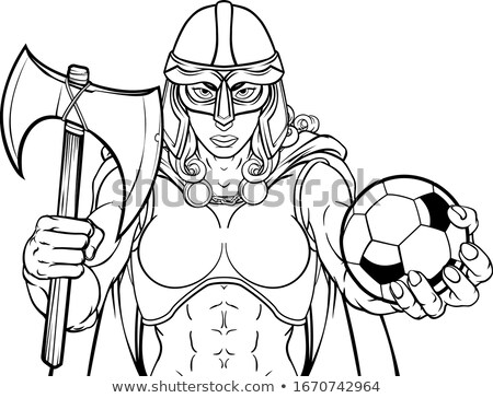 Viking truva Kelt şövalye futbol savaşçı Stok fotoğraf © Krisdog