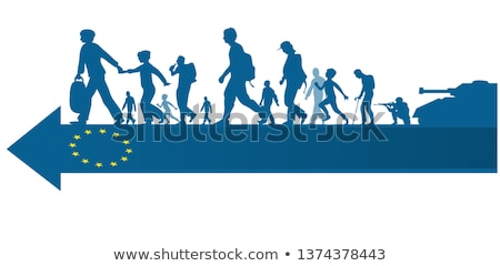 immigration people silhouette moving to  european arrow flag Stock photo © doomko