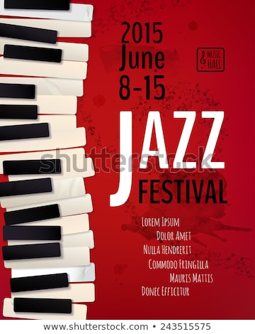 jazz · muziekfestival · flyer · ontwerp · piano · toetsenbord - stockfoto © cienpies