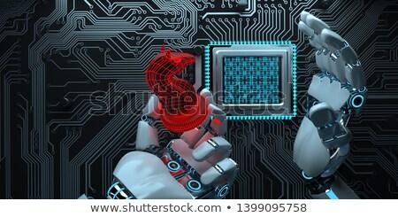 ヒューマノイド ロボット 手 トロイの 馬 赤 ストックフォト © limbi007
