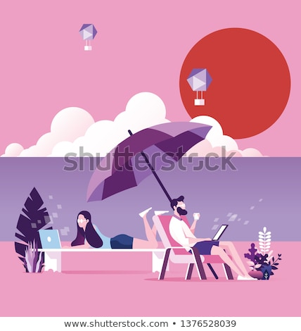 Relaxing on Beach, Summer Business, Sea Vector Stock photo © robuart