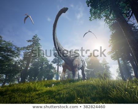 Dinoszaurusz erdő illusztráció természet tájkép művészet Stock fotó © colematt