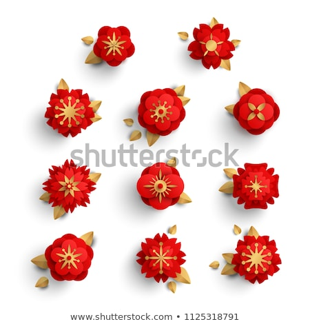 Japanese Origami Flower Isolated Paper Cut Vector Stock photo © robuart
