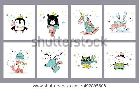 Fuchs · Weihnachten · Illustration · tragen · Schal · Dekoration - stock foto © marish