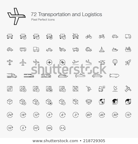 collection public transport vector line icons set stock photo © pikepicture