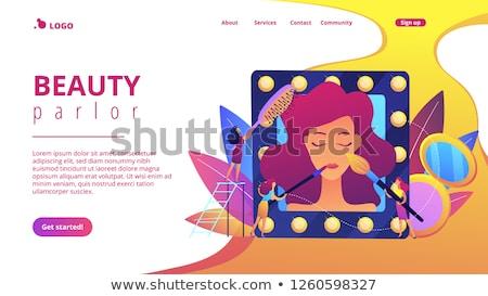 Beauty Salon Neon Landing Page Stock photo © Anna_leni
