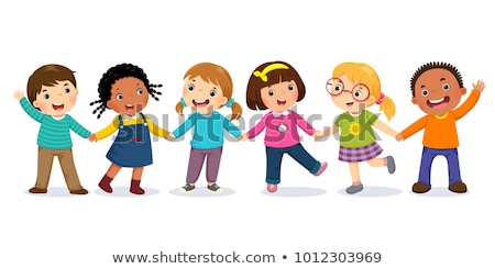 kinderen · holding · handen · silhouetten · meisje · menigte · vrienden - stockfoto © robuart