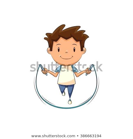 feliz · desenho · animado · preto · menino · saltando · jovem - foto stock © bennerdesign