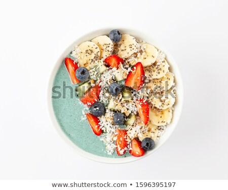 Puchar drewniany stół zielone jedzenie świeże diety Zdjęcia stock © Alex9500