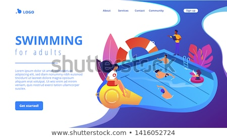 Stock photo: Swimming and lifesaving classes concept vector illustration.