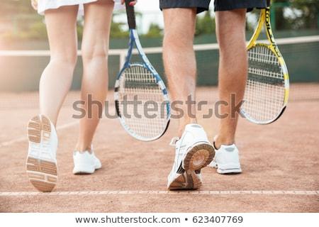 Kép fiatalember nő játszik teniszpálya sportruha Stock fotó © deandrobot