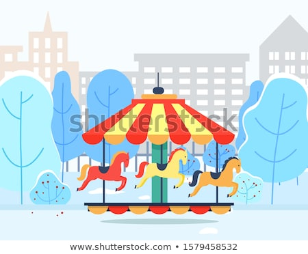 Carousel in Winter Park with Cityscape View Vector Stock photo © robuart