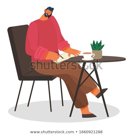 Businessman Talking on Phone in Coffeehouse Vector Stock photo © robuart