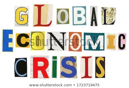 Globalny ekonomiczny kryzys tekst gazety odizolowany Zdjęcia stock © Taigi
