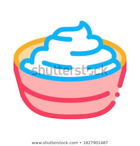 Tál befejezett majonéz ikon vektor skicc Stock fotó © pikepicture