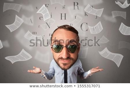 Big head on small body with flying documents Stock photo © ra2studio