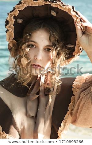 beautiful retro woman in blue dress stock photo © elisanth