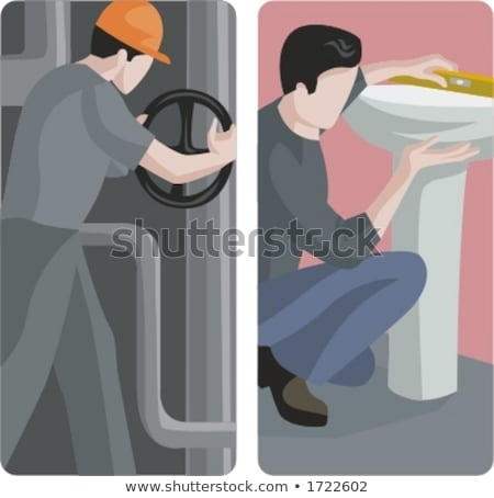 Labourer fixing sink Stock photo © photography33