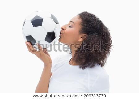 belo · mulher · jovem · beijando · futebol · branco · esportes - foto stock © Rob_Stark