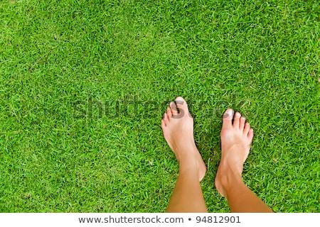 Mezítláb zöld fű látható égbolt fű férfi Stock fotó © pzaxe
