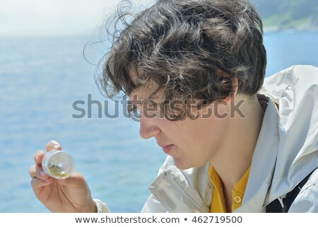 mulher · animais · selvagens · prado · binóculo · feminino · belo - foto stock © smithore