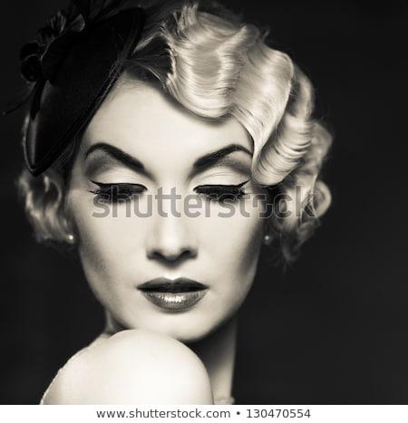 körmök · érzéki · ajkak · szőke · nő · portré · fehér - stock fotó © victoria_andreas