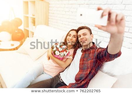 Сток-фото: два · сердцах · смартфон · брак · свадьба · любви