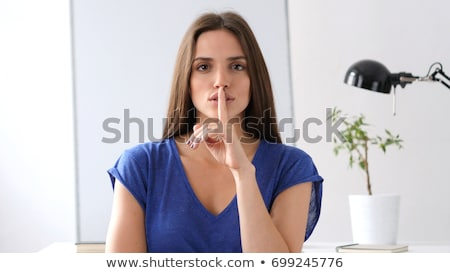 Stock photo: Young Businesswoman Asking For Silence