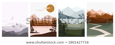 górskich · chmury · stylizowany · góry · obraz - zdjęcia stock © cteconsulting