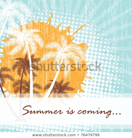 Summer Background With Yellow Suns And Brown Palms Stock fotó © mcherevan