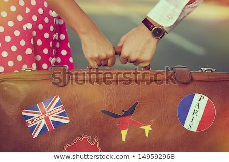 Genç kadın bavul Paris örnek vektör format Stok fotoğraf © balasoiu