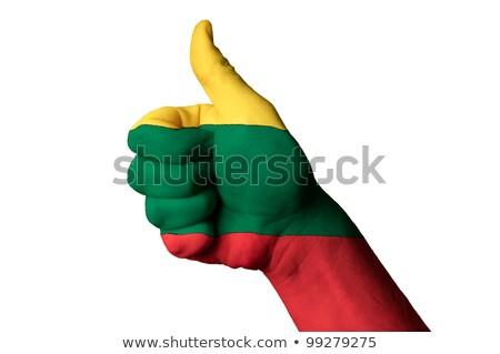 Lituania bandiera pollice up gesto eccellenza Foto d'archivio © vepar5