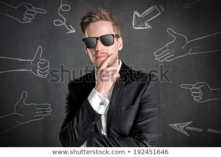hideg · macsó · üzletember · napszemüveg · szexi · fiatal - stock fotó © stryjek