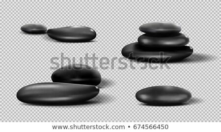 Zwarte massage stenen geïsoleerd rock Stockfoto © EwaStudio