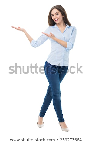 Young woman presenting something Stock photo © bmonteny