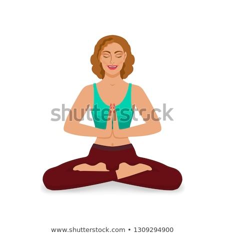 Mulher ioga menina pose isolado Foto stock © leonido