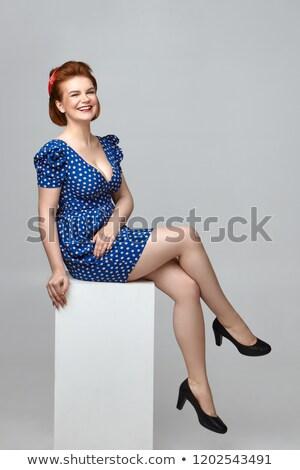 Pompás nő alacsony ruha szexi mutat Stock fotó © dash