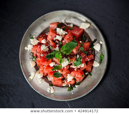 anguria · insalata · foto · fresche · tavolo · in · legno - foto d'archivio © bubutu