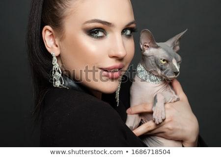 Nő gyémánt fülbevalók gyönyörű nő estélyi ruha visel Stock fotó © dolgachov