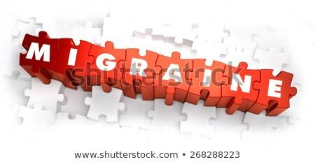 Migrén fehér szó piros 3d render szomorú Stock fotó © tashatuvango