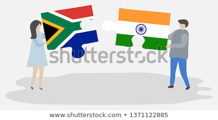 Stock photo: India and South Africa Flags in puzzle