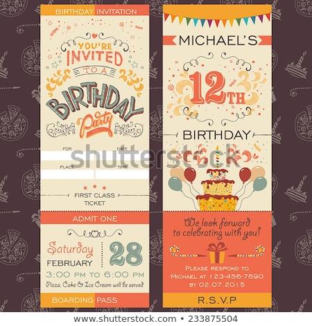 Születésnapi buli meghívó modern születésnap szimbólumok ajándékok Stock fotó © vectorikart