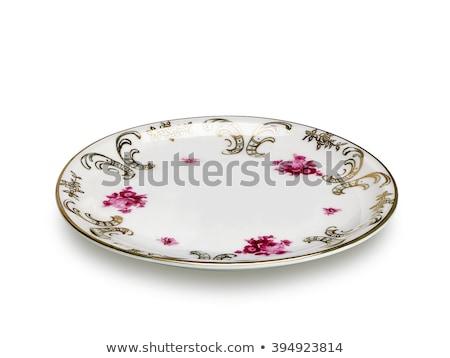 üres · vacsora · tányér · izolált · fehér · étel - stock fotó © kirs-ua